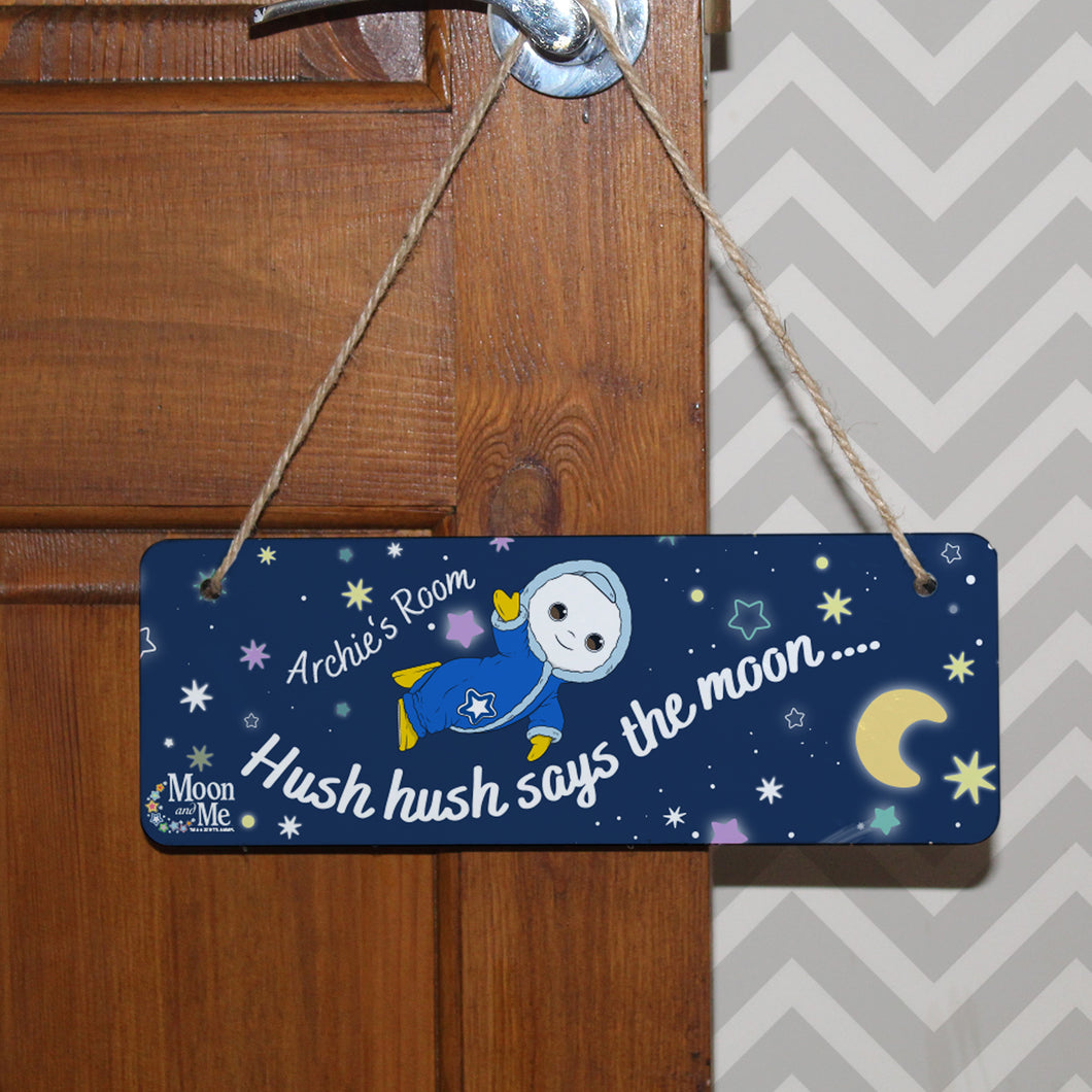 personalised moon and me baby hanging door sign