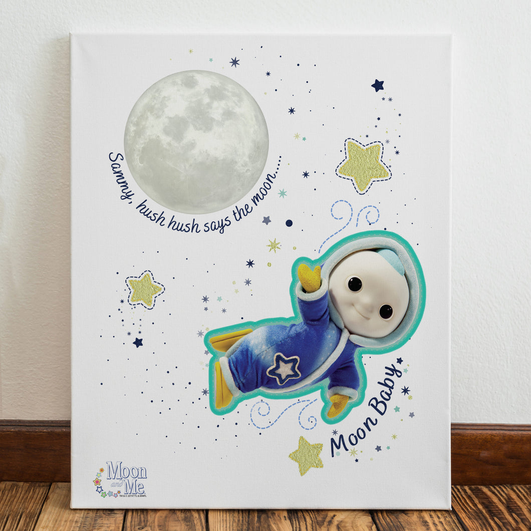 personalised moon and me hush says the mood canvas