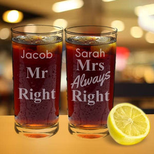 personalised mr and mrs always right glasses set