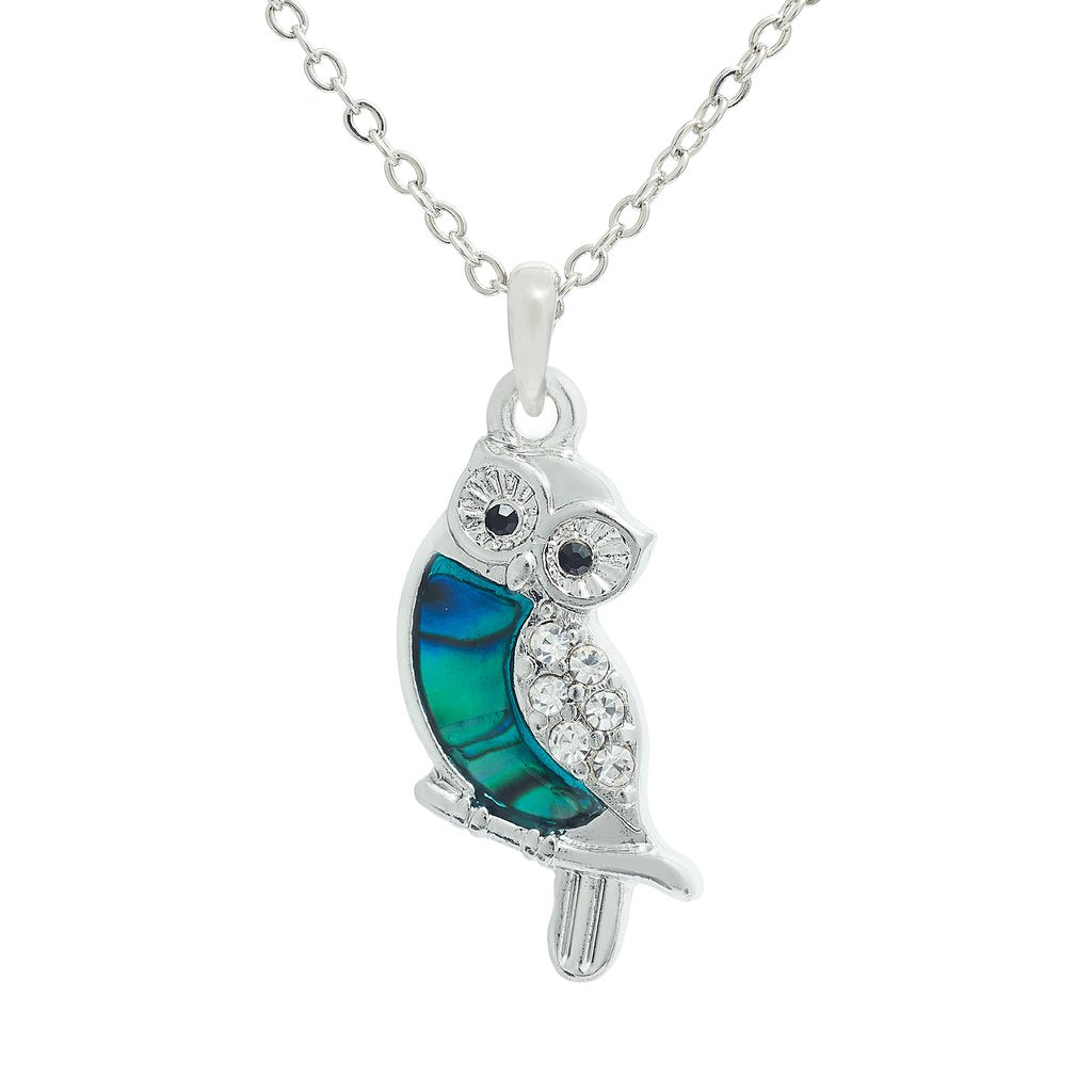 paua shelll little owl necklace