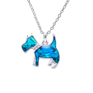paua shell scottie dog necklace