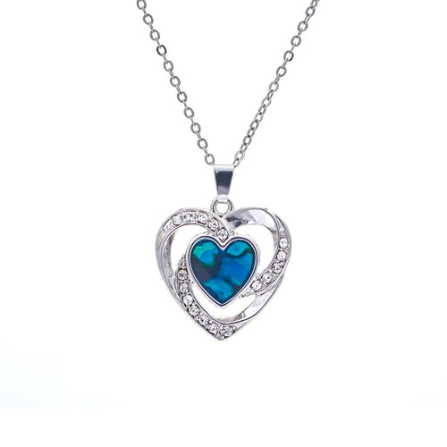 paua shell double heart and crystal necklace