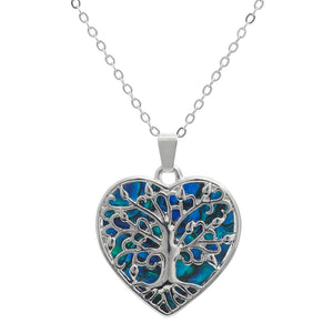 paua shell tree of life necklace