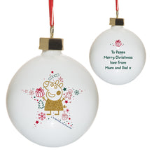 personalised peppa pig glitter christmas bauble