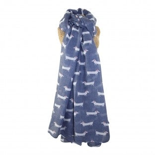 sausage dog scarf blue