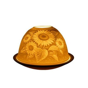 light glow sun flower tea light candle holder