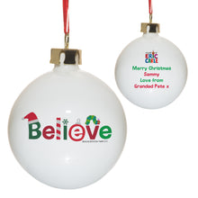 personalised hungry caterpillar believe christmas bauble