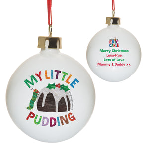 personalised hungry caterpillar my little pudding christmas bauble