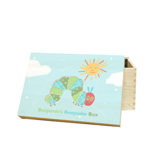 personalised hungry caterpillar blue keepsake memory box