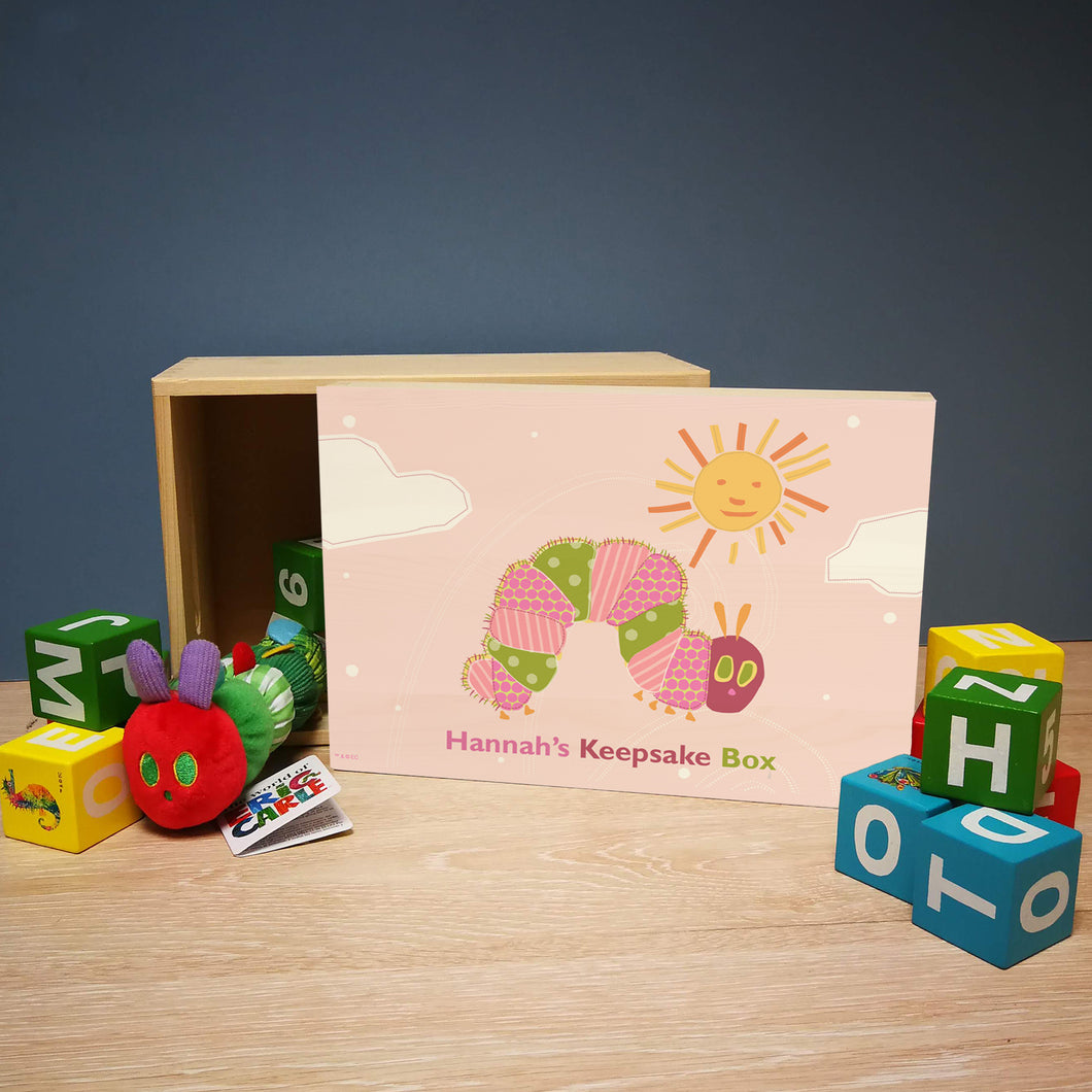 personalised hungry caterpillar pink keepsake memory box