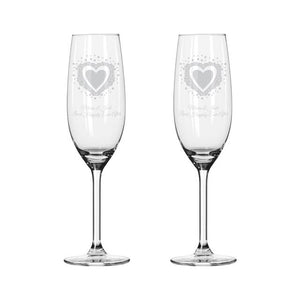 personalised vintage hearts pair of flute glasses