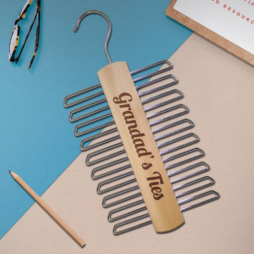 personalised wood tie hanger