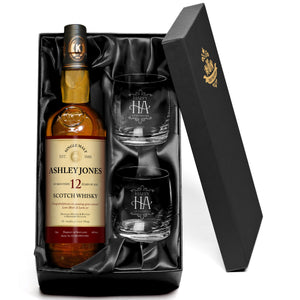 personalised 12 year old malt whisky with glasses