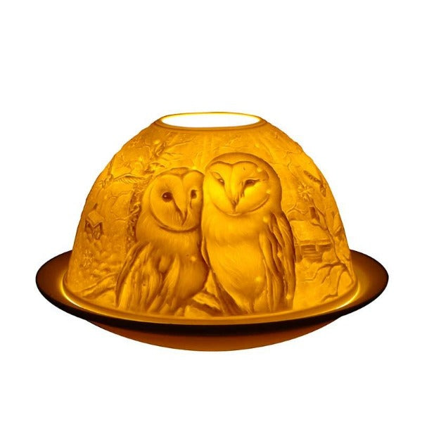 Light Glow Barn Owls Tealight Candle Holder