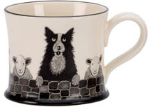 border collie with sheep mug