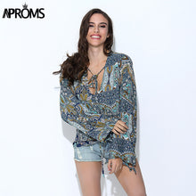 Aproms Boho Tropical Floral Print Women's Blouses Casual V-Neck Loose Cotton Shirts Female Big Size Long Sleeve Tops for Women