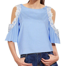 Fashion New Cold Shoulder Blouse Women Summer Autumn Striped Blouses Lace Top Blue Pink blusa listrada feminina
