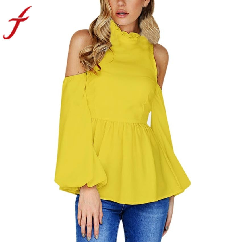 Feitong Women Yellow Blouse Sexy Off Shoulder Blouses for Women Lady Casual Autumn Flare Long Sleeve Solid Top Blusas Female