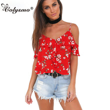 Colysmo Sexy V Neck Strappy Boho Red Floral Tank Top