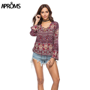Aproms Elegant Floral Print Loose T-Shirt Women V-neck Lace Up Tee Casual  T Shirt Ladies Summer 2018  Boho Long Sleeve Tops