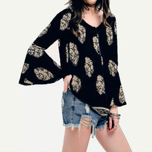 ZANZEA 2018 Spring Retro Womens Floral Print Flare Sleeve Lace-Up V-Neck Shirt Boho Casual Loose Flounced Blouse Tops Plus Size
