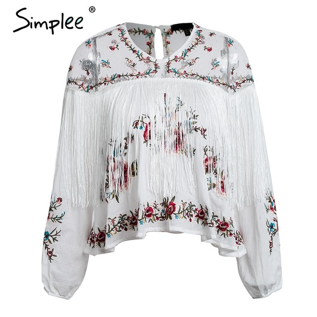 Simplee Elegant flower embroidery blouse shirt women Sexy transparent tassel shirt femme Boho long sleeve white blouse summer