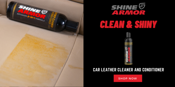 Shine Armor conditioner next to a large yellow stain on a car seat.