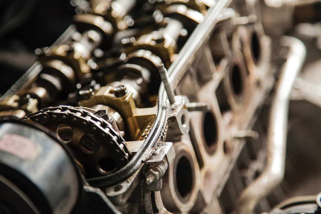 Timing chain on the inside of a big block engine.