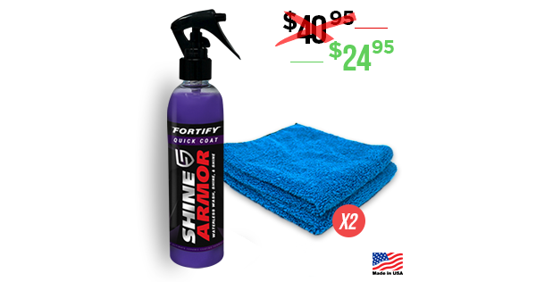 Core Pack (1 Bottle + 2 Microfibers) - Shine Armor Fortify Quick Coat - Ceramic Waterless Wash, Shine & Protect