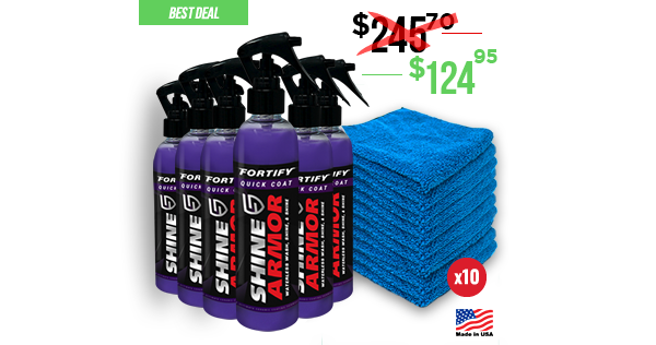 Pro Pack (6 bottles + 10 microfibers) - Fortify Quick Coat - Waterless Wash, Shine & Protect