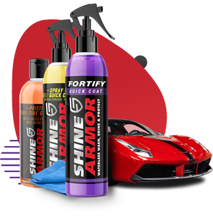 Shine Armor Exterior Perfection Kit (1 Fortify Quick Coat, 1 Tire Gel, 1 Spray Wax, 2x Microfiber Towel)