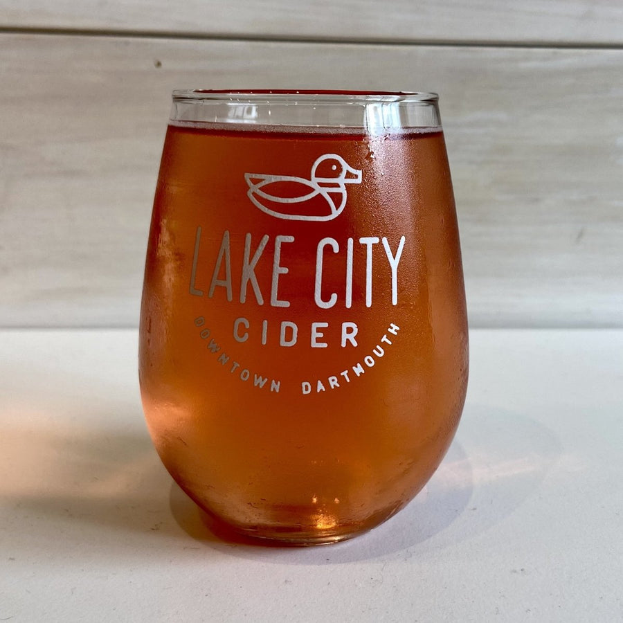 8oz stemless glass - Lake City Cider