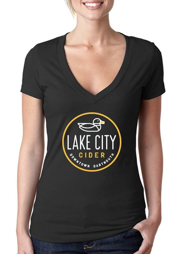 Ladies Black V-Neck T-Shirt - Lake City Cider