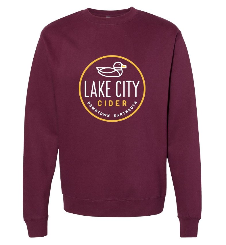 Unisex Maroon Crew Neck Sweater - Lake City Cider