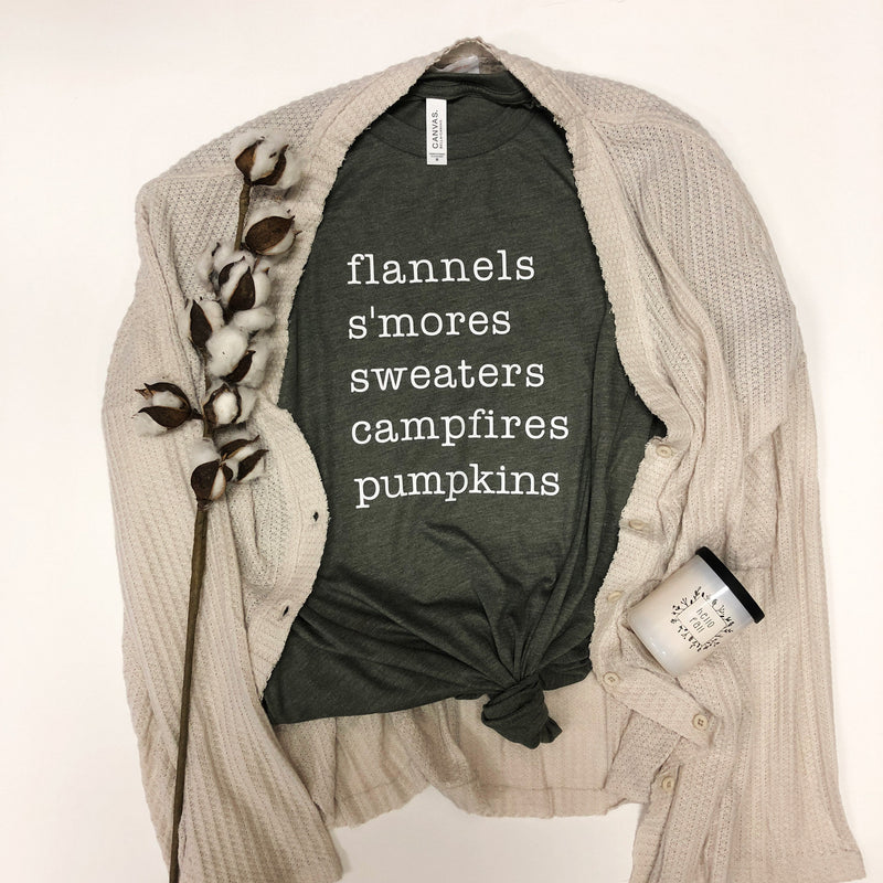 Flannels S'mores Sweaters Campfires Pumpkins Tee