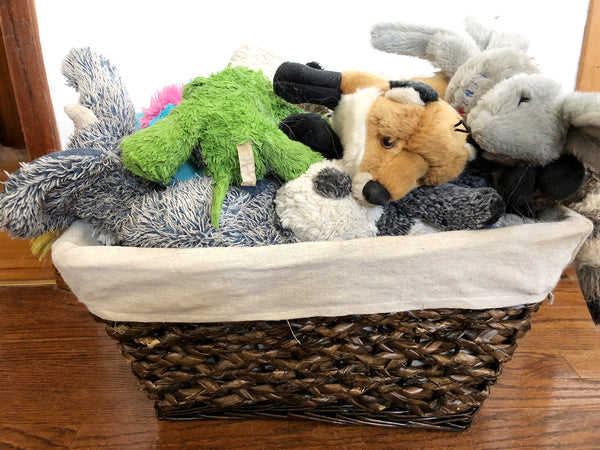 organize toys in a basket