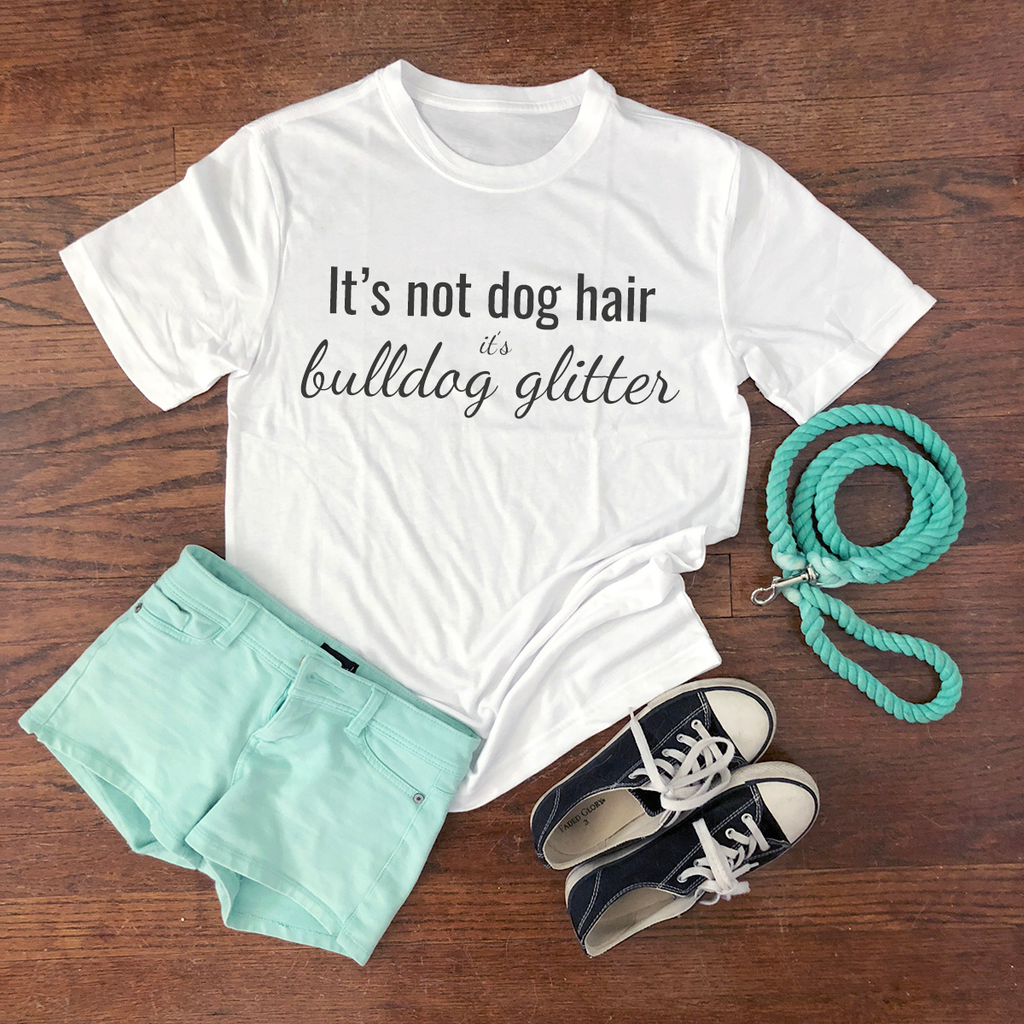 bulldog glitter short sleeve shirt