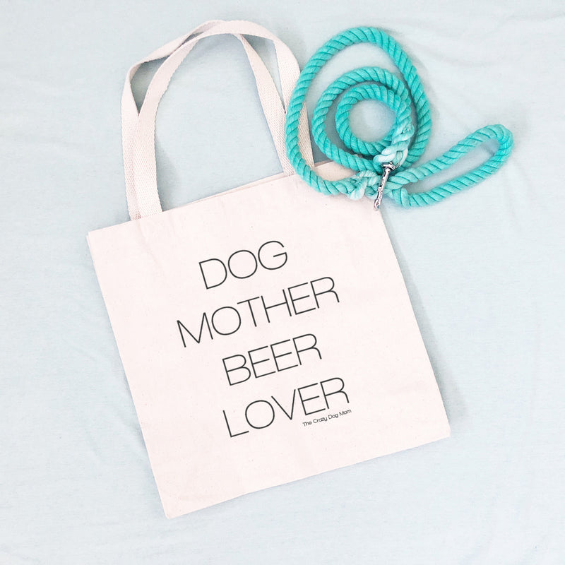dog mother beer lover tote bag