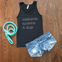 weekends sunshine and dogs tank top