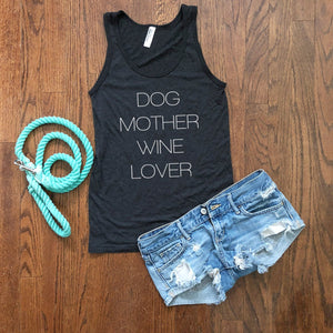 dog mother wine lover tank top