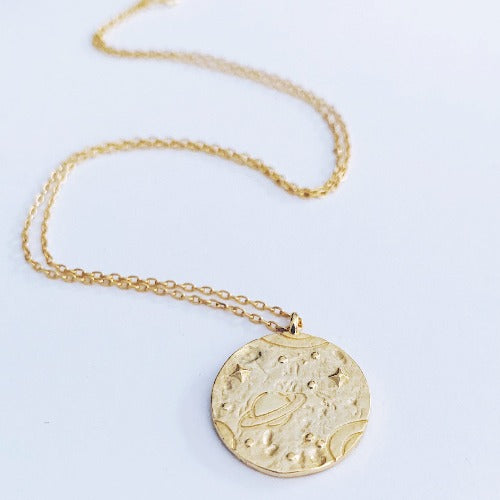 Saturn Coin Necklace