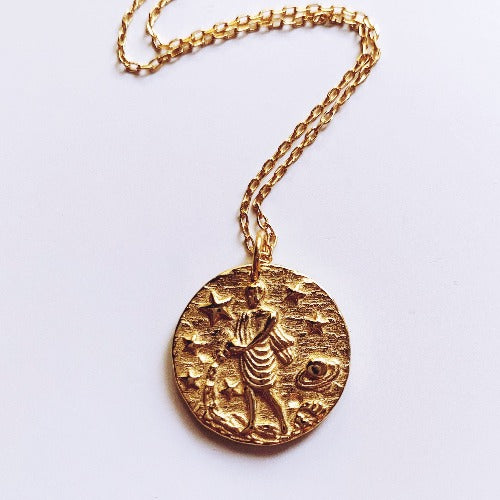 Milky Way Coin Necklace - Aquarius