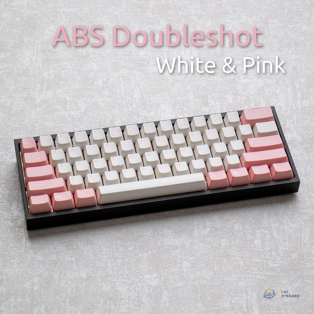 White & Pink - ABS Doubleshot Keycaps