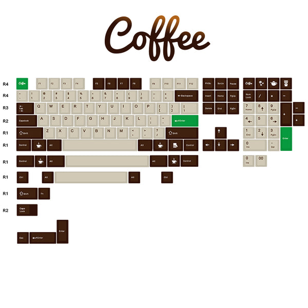 Coffee Keyset - Cherry Profile PBT Keycaps
