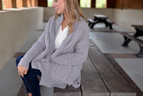 Powder Puff Chenille Cardigan- Grey