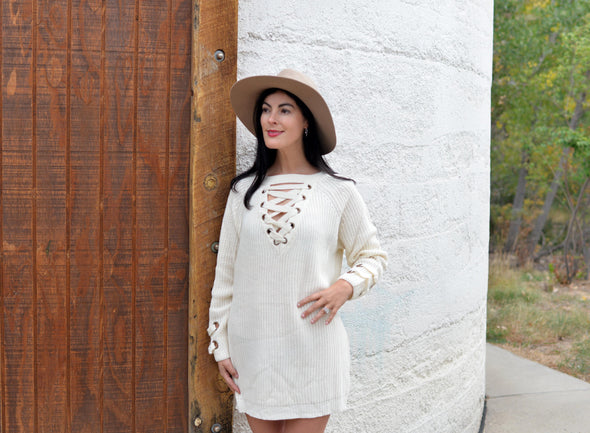 Lace Me Up Sweater Dress- Ivory