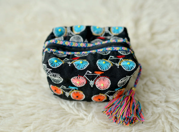 Embroidered Make-Up Bag- Black Bicycle