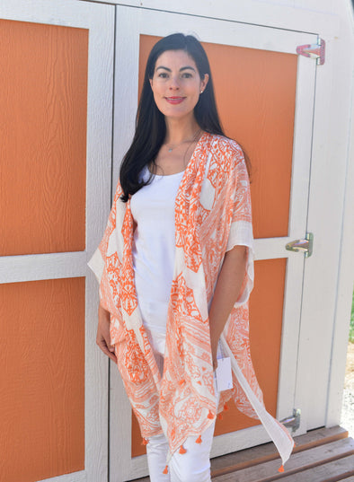 Apricot Medallion Kaftan with Tassels