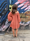 Ruffle Rita Dress- Brick