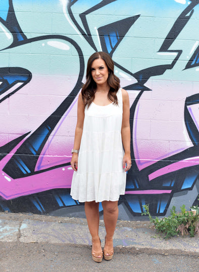 Tiered Tank Dress- Off White